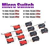 RUNCCI-YUN 12 pezzi Micro Interruttore Finecorsa,leva lunga,SPDT,mini,pulsant, momentane...