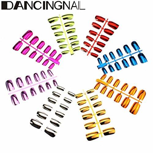 Bureze DancingNail 1 pcs métallique Faux ongles Art Conseils Français court paragraphe 6 tailles