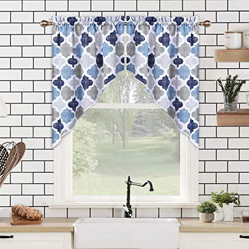 "Swag Valances for Windows, Geometric Quatrefoil Trellis Printed Cotton Blend Tailored Swag Kitchen Curtain Valances for Bathroom Windows, Navy/Blue/Grey, 56"" W x 36"" L"