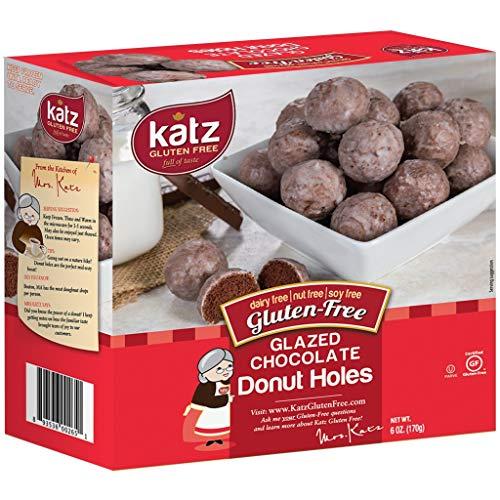 Katz Gluten Free Glazed Chocolate Donut Holes | Dairy Free, Nut Free, Soy Free, Gluten Free | Kosher (6 Packs, 6 Ounce Each)