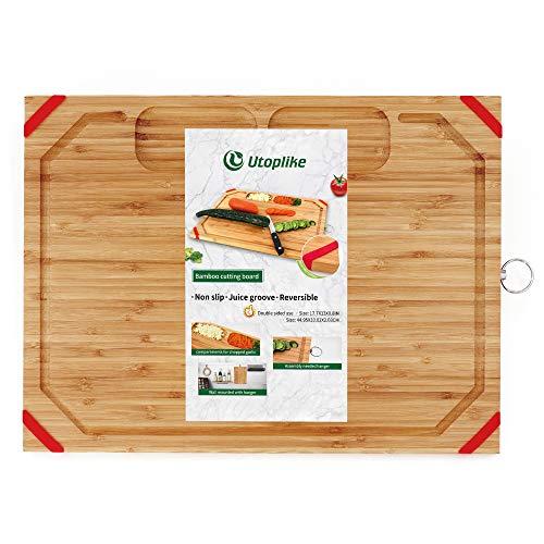 Utoplike Schneidebrett Holz Groß für die Küche, Bambus Schneidebrett , 45 x 33 x 2 cm, Ultimate Tray mit geschnittener Saftrille und 2 eingebauten Fächern, rutschfester Siliziumschutz