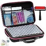wefqe Diamond Painting Accessories kit,Portable Bead Storage Container,Diamond Painting Storage Containers,60 Slots Diamond Storage Box with Tools.(Pink)