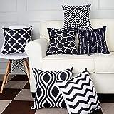 Juego de 6 fundas de cojín de algodón y lino para coche, fundas de cojín decorativas, para sofá o dormitorio, 45 x 45 cm, metal, Negro , talla única