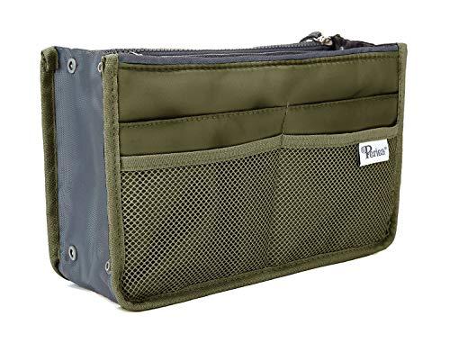 Periea Purse Organizer Insert Handbag Organizer - Chelsy - 28 Colors Available - Small, Medium or Large (Khaki, Medium)