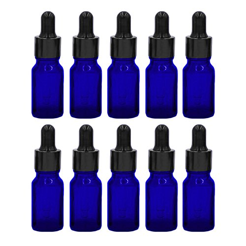 Esencial Botella de Aceite[10PCS],Vococal® Portátiles 10ML Botellas de Vidrio Recargables Vacías para Aceite Esencial/Perfume/Líquido,Envases Botellas con Cuentagotas (Azul)
