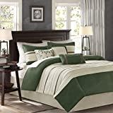 Madison Park Palmer Cozy Comforter Set-Luxury Faux Suede Design, All Season Down Alternative Bedding with Matching Shams, Bedskirt, Decorative Pillows, King(104'x92'), Green 7 Piece