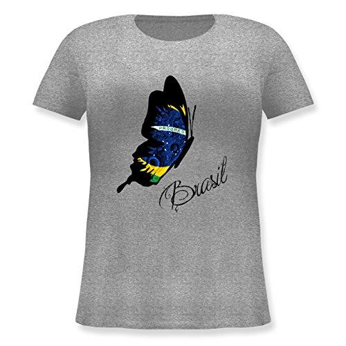 Länder - Brasil Schmetterling - M (46) - Grau meliert - JHK601 - Lockeres Damen-Shirt in großen Größen mit Rundhalsausschnitt