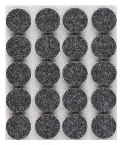 haggiy® Filzgleiter / Möbelgleiter, selbstklebend, rund, 5,0mm stark, Ø=17mm, grau (20 Stück)