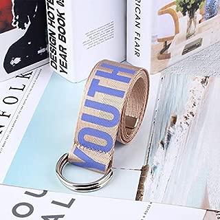 Ladies Jeans Belt Fashion Letter Printing Unisex Double D-Ring Canvas Belt Female Long Belt Girls Jeans Decorative Belt Fashion Trend Slim Wild Style (Color : Purple)