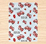 Customized Baby Blanket- Firefighter Blanket for Kids - Firefighter Gift Personalized Blanket for Kids and Adults - Fire Trucks Blanket / Gift-635