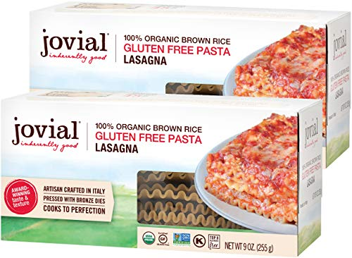 Jovial Lasagna Gluten-Free Pasta | Whole Grain Brown Rice Lasagna Pasta | Non-GMO | Lower Carb | Kosher | USDA Certified Organic | Made in Italy | 9 oz (2 Pack)