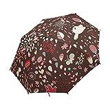NC Paraguas Plegable Compacto, Flor marrón de pájaro Lindo de Dibujos Animados, Paraguas de Lluvia de Viaje fácil de Llevar
