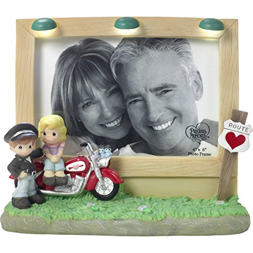 Precious Moments 172402 You're My Road to Happiness Couple on Motorcycle Light Up Resin 4 X 6 Photo Frame