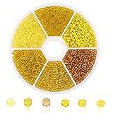 Cuentas de Semillas de Vidrio, 3900 Piezas de 2 mm Cuentas Redondas Lisas Cuentas de Pulsera Para Kit de Fabricacin de Joyas Arte y Artesana (Yellow)
