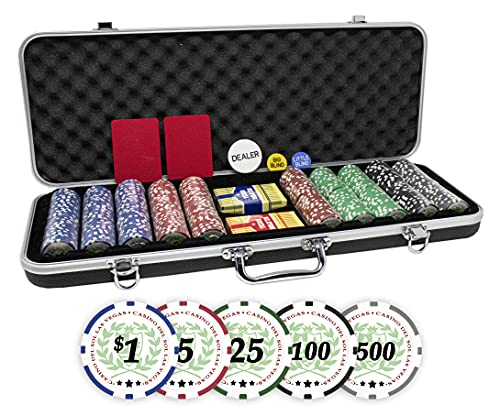 Professional Set of 500 11.5 Gram Casino Del Sol Poker Chips with Denominations and Upgraded Ding Proof Black ABS Case, 2 Decks of Plastic Playing Cards, 2 Cut Cards and Dealer Buttons