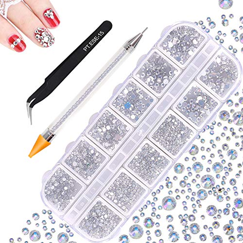1500 Stück Strasssteine Nägel, JUYOO 6 Größen Nagel Steine, JUYOO Aufkleben Glitzersteine Nägel, Rund Steinchen für Nägel, mit Dotting Pen Pinzetten