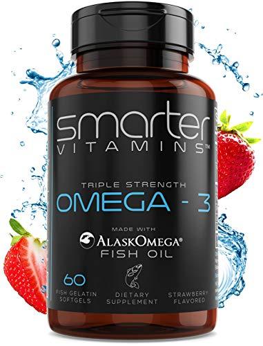 2Pack Omega 3 Fish Oil Strawberry Flavor Burpless Tasteless 2000mg Triple DHA EPA Triple Strength Brain Support Made with AlaskOmega®