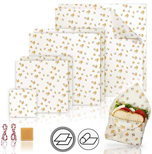 Natual Beeswax Wrap (Set of 7) Sustainable Alternative to Aluminum Foil and Albal Paper - For Fruits, Vegetables, Bread, Cheese and Other Foods