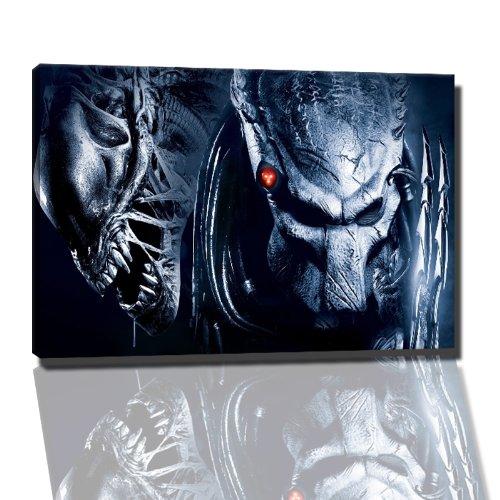 Alien Vs. Predator Bild auf Leinwand -- 100x70 cm fertig gerahmte Kunstdruckbilder als Wandbild - Billiger als Ölbild oder Gemälde - KEIN Poster oder Plakat