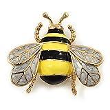 Colore giallo ape, smaltato In nero-Spilla In metallo placcato oro, lunghezza 4 cm...