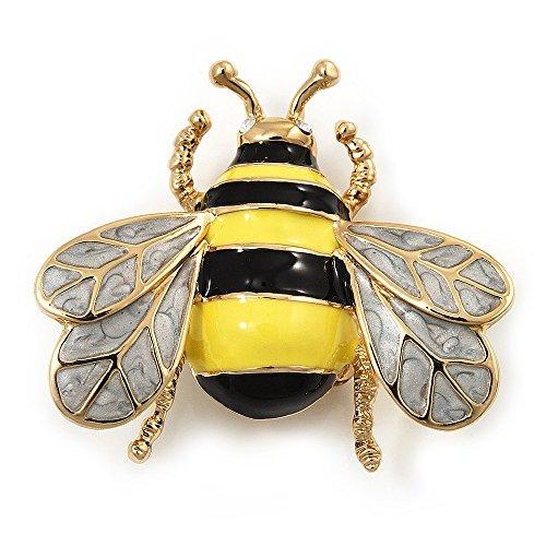 Avalaya Yellow/Black Enamel Bee Brooch in Gold Plated Metal - 4cm Length