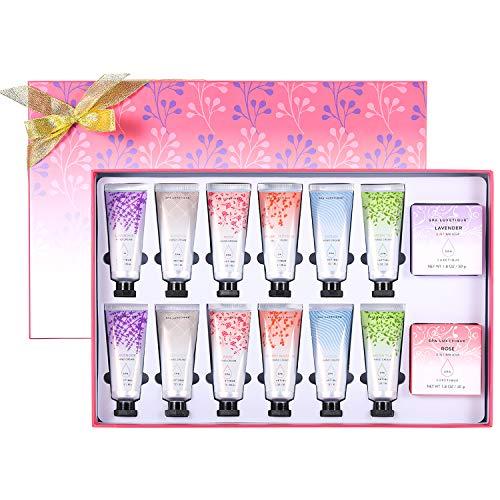 Set de Cremas de Manos - Spa Luxetique Crema de Manos de Manteca de Karité Hidratante para Cuidado de Manos, Set de Regalo para Mujer con 14 Piezas, Caja de Regalo Ideal para Cumpleaños y Fiesta