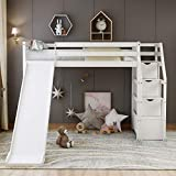 Bellemave Loft Bed with Slide, Kids Wood Twin Loft Bed with 3 Step Staircase Storage & Safety Rail Multifunctional Design ,White