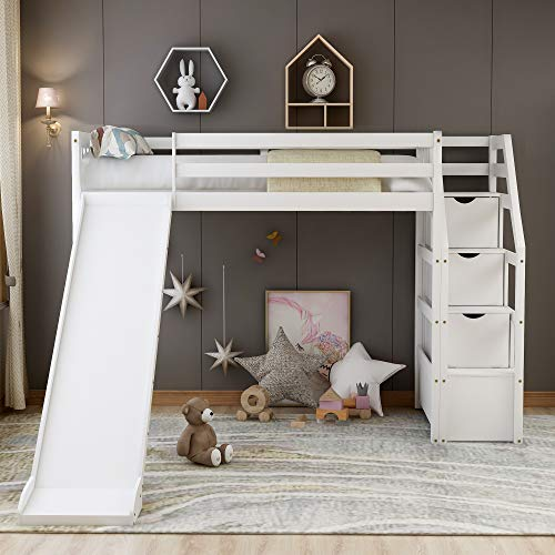 Merax Solid Wood Twin Loft Bed with 3 Storage, Slide, Ladder...