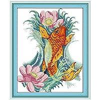 鯉や花のパターンカウントクロスステッチ11CT 14CTクロスステッチセットのクロスステッチキット刺繍刺繍 Cross-Stitch (Cross Stitch Fabric CT number : 11CT picture printed)