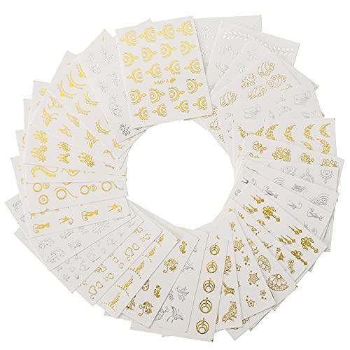 WIFUN 30PCS Nagelsticker, Fashion DIY Maniküre Nagel Kunst Sticker Wassertransfer, Art Design Nagel Aufkleber für Nageldekoration Tattoo Abziehbilder Karten Grußkarte