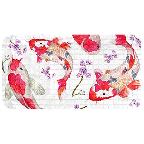 Henghenghaha - Alfombrilla antideslizante para bañera con ventosas, 100% no tóxica, 35 x 26,9 cm, color rojo