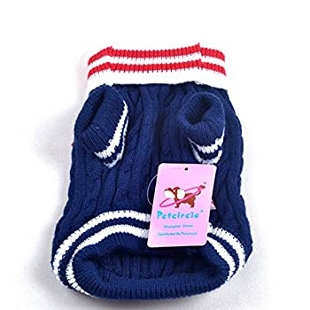 SMALLLEE_Lucky_Store Pull Pull-Overs Veste Vêtement Tricot Manteau d'hiver Chaud pour Chihuahua Petit Chien Chaton Chat Bleu Marine L