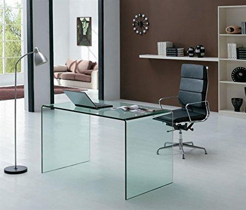 Mesa escritorio cristal curvado transparente 126x70