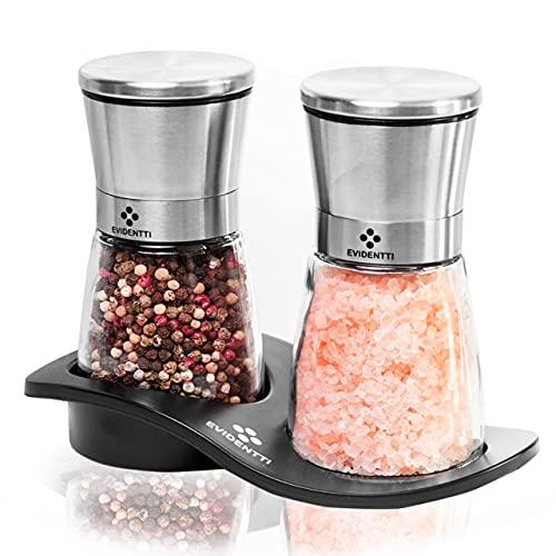EVIDENTTI Salz und Pfeffermühle – Gewürzmühlen 2er Set manuell – Pfeffermühlen Set mit verstellbarem Mahlwerk aus hochwertigem Edelstahl & Glas [Mit extra 2 x Keramikmahlwerk]