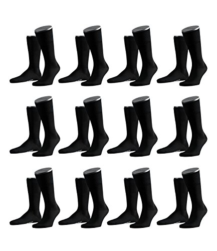 FALKE Herren Airport Socken Strümpfe 14435 12 Paar, Farbe:Schwarz;Sockengröße:41-42;Artikel:14435-3000 black