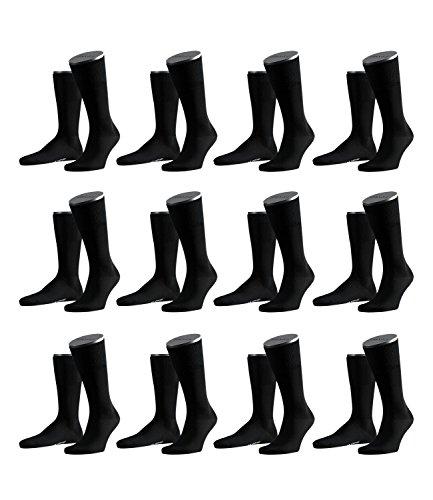 FALKE Herren Airport Socken Strümpfe 14435 12 Paar, Farbe:Schwarz;Sockengröße:45-46;Artikel:14435-3000 black