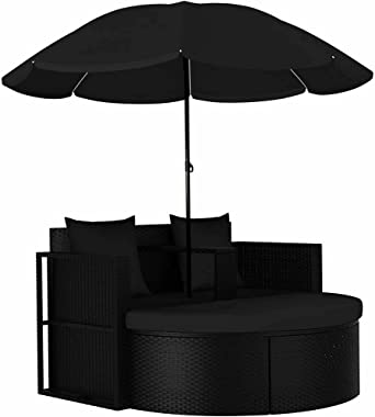 vidaXL Garden Bed with Parasol Outdoor Patio Backyard Sun Lounger Seating Daybed Sofa Bed Relaxing Furniture Poly Rattan Blac