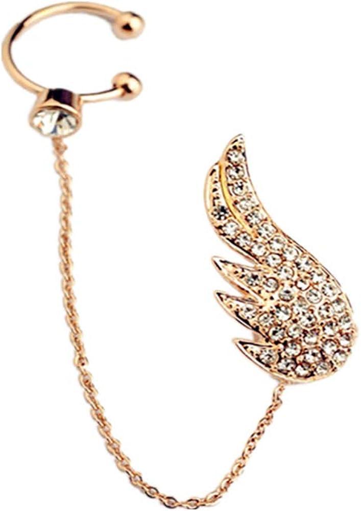 Cherryzz Girl's 18K Gold Plated Crystal Wings Ear Cuff Ear Clip Ear Wraps Earrings for Women