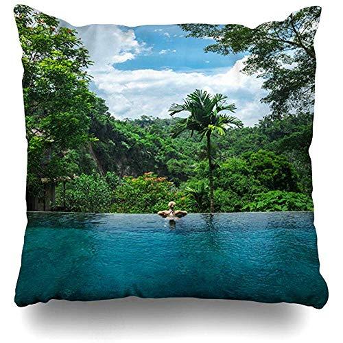 Not applicable Wurfkissenbezug Resort Blue Ubud Girl Infinity-Pool in Richtung Dschungel Indonesien Palmtrees Parks Green Tropical Forest Kissenbezug mit Reißverschluss