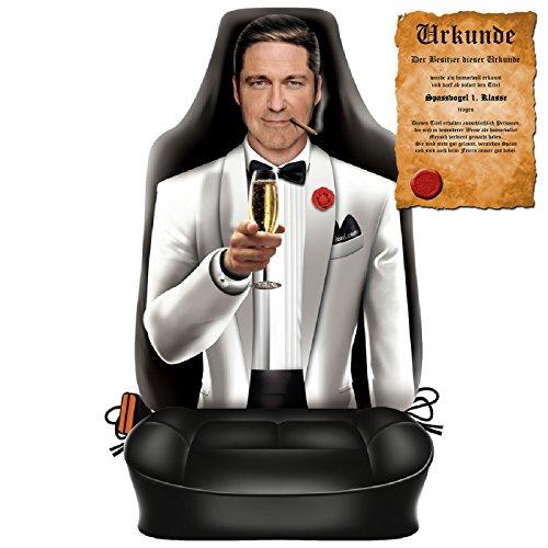 Goodman Design  Witziger Sitzbezug fürs Auto mit hochwertigem Aufdruck - Gentleman - Im Set mit gratis Urkunde Spassvogel 1. Klasse