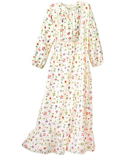 National Floral Flannel Nightgown, Multi Floral, Large