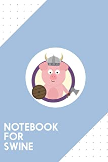 Notebook for Swine: Dotted Journal with Viking pig in purple circle Design - Cool Gift for a friend or family who loves po...