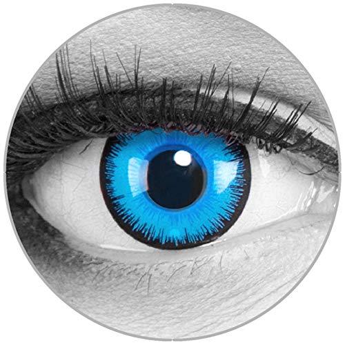 Funnylens Farbige blaue Kontaktlinsen Alper mit Stärke - weich mit Stärke 2er Pack + gratis Behälter – 3 Monatslinsen - perfekt zu Halloween Karneval Fasching oder Fasnacht -6.0