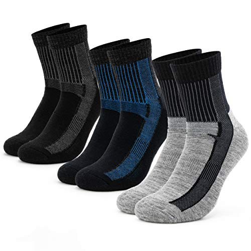 Occulto 1 | 3 Paar Merino Wolle Wandersocken für Damen, Herren & Kinder | Atmungsaktive Trekkingsocken | Funktionssocken Wolle | Sportsocken Herbst Winter (39-42, 3 Paar | Schwarz-Navy-Light-Grey)