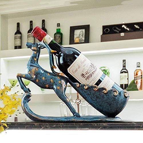 ZKAIAI retro Moderno Estilo Realista Crafts Venado Azul estante del vino del refrigerador de vino Decoración del estreno de regalo europeo y americano de Inicio Casado resina artesanal hecho a mano an