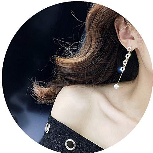 Toporchid Pendientes largos de borla de gota de diamantes de imitación de bola pendientes de temperamento para mujer