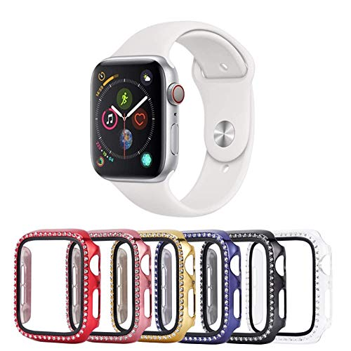 Tranesca 6 Pack 38mm Bling Case with Built-in Tempered Glass Screen Protector Compatible with Apple Watch Series 3/2/1 (Red,Rose Gold,Gold,Blue,Black,Clear)