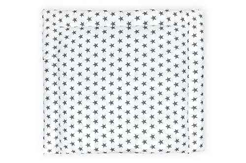 KraftKids Wickelauflage in kleine graue Sterne auf Weiss, Wickelunterlage 75x70 cm (BxT), Wickelkissen GSW112