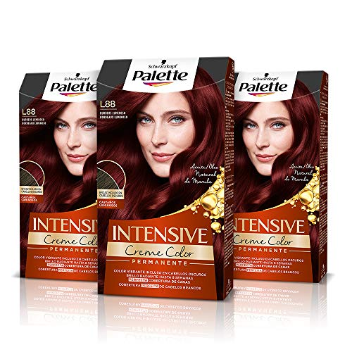 Palette Intense Cream Coloration Intensive Coloración del Cabello L88 Burdeos Luminoso - Pack de 3