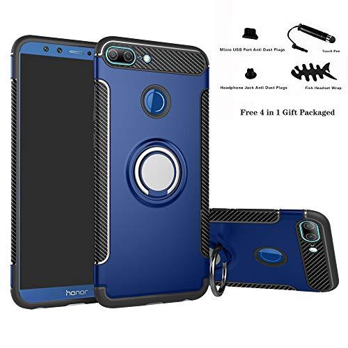 Labanema Honor 9 Lite Funda, 360 Rotating Ring Grip Stand Holder Capa TPU + PC Shockproof Anti-rasguños teléfono Caso protección Cáscara Cover para Huawei Honor 9 Lite - Azul